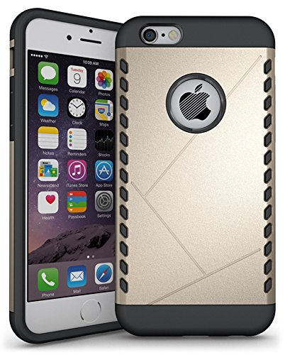 sibaina rigide pour PC téléphone portable pour iPhone 6, Heavy Duty Armor Shield Coque Housse de Protection Téléphone Portable Coque rigide pour Apple iPhone 5/5S/5C/6S 6Plus, argent, For Iphone6 6s doré