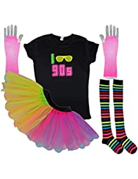 Honey B's I Love 90s Neon Tutu Set Socks 90's Ladies Fancy Dress T-Shirt Gloves (Large, Rainbow)