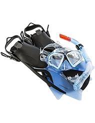 Ultrasport Aqua Speed - Set de esnórquel para adultos, formado por máscara de buceo, esnórquel y aletas, disponible en azul o negro azul, tamaño 43-44