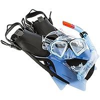 Ultrasport Aqua Speed Set de esnórquel para Adultos, Uni, Negro/Azul, 43-44