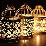 Metallhohlkerzenhalter Teelicht Kerzenständer Hängende Laterne Vogelkäfig Weiß C