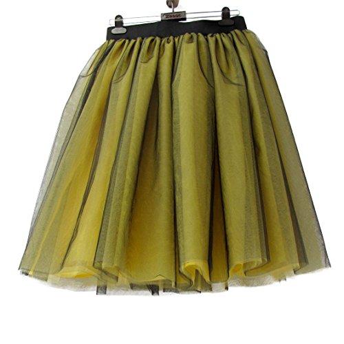 Honeystore Damen's Rock Tutu Tuturock Tütü Petticoat Tüllrock 6 Schichten mit Gummizug für Karneval, Party und Hochzeit M Schwarz und Gelb
