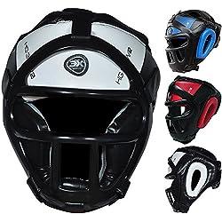 3x Deportes parrilla Protector de cabeza Casco de bar Kick Boxing Gear Protección Facial Headgear, color Blanco - blanco, tamaño large