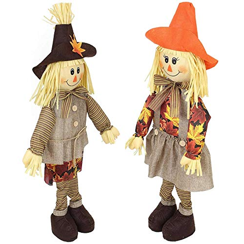 (SIDCO 2 x Vogelscheuche Strohpuppe Herbst Deko Halloween Dekoration Gartendeko Paar)