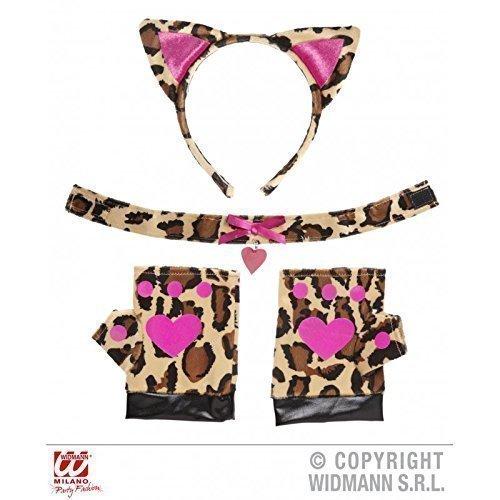 Lively Moments Leopardinset in braun - schwarz - pink mit Ohren, Halsband und Handschuhen Leopard Cat Choker