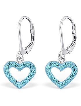 Silvinity Kinder Ohrringe Herz türkis - 925 Silber Ohrhänger Kristall Herzen mit Brisur Verschluss 28x12mm #SV...