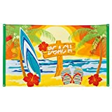 NET TOYS Partybanner Beach Party Strandparty Dekobanner 90 x 150 cm Stoffbanner Sommerparty Textilbanner Mottoparty Hawaii