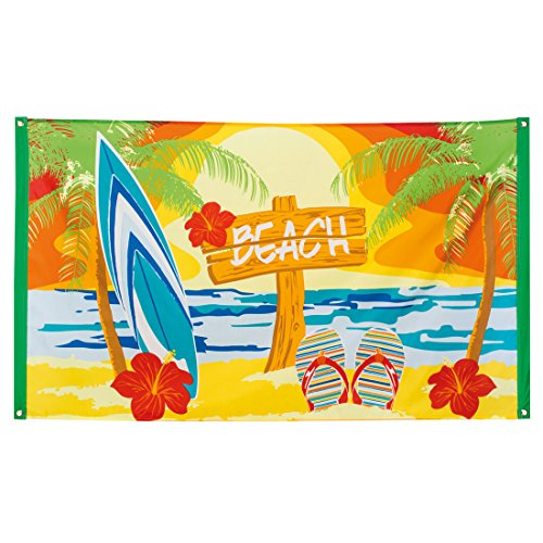 Beach Party Dekoration (Stoffbanner Sommerparty - 90 x 150 cm - Partybanner Beach Party Transparent Sommerfest Textilbanner Mottoparty Hawaii Dekoration Karibik Bar Südsee Partybanner Beach Party)