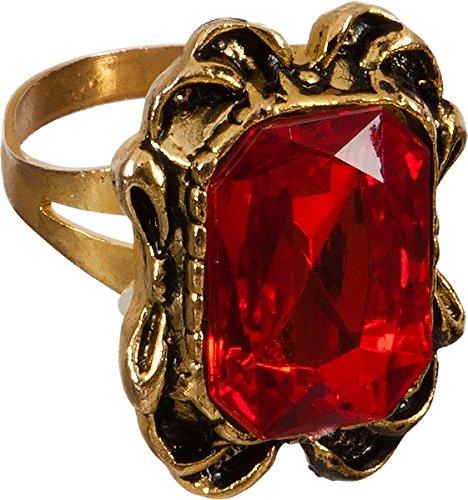 Orlob Ring mit rotem Stein zum Vampir GRAF Dracula Kostüm an ()