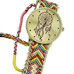 Ularmo Women Girls Dreamcatcher Gold Dial Weaved Bnad Bracelet Multicolors Dress Watche Hot Pink+Blue
