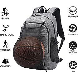 Valleycomfy Mochila de deporte para hombres, con red de baloncesto plegable e interfaz USB, para ocio/deporte/viaje bolsas de hombro (hasta 39,6 cm), gris