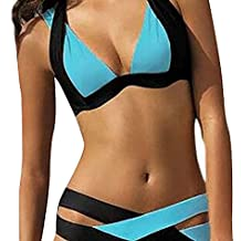 YAANCUN Mujeres Push-up Acolchado Bra Traje De Baño Dos Piezas Bikini Sets Cuello Hálter Swimsuit