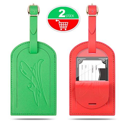 Kofferanhänger, Gvoo 1 Paar 2 Stück Reise Gepäckanhänger Taschenanhänger Luggage Tag Gegen Verlieren (Rot+Grün)