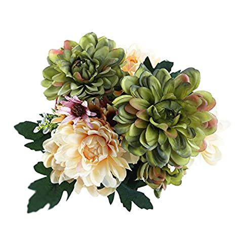 Soledi Artificial Silk Fake 10 Heads Flower Bunch Bouquet for Home Hotel Wedding Party Garden Floral Decor European Chrysanthemum (Green)