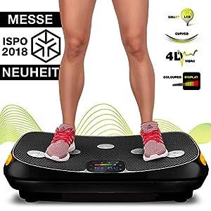 Messe-Neuheit 2018! 4D Vibrationsplatte VP400 mit einmaligen Curved Design, Color Touch Display, Riesige Fläche, Smart LED Technologie inkl. Remote-Watch, Trainingsbänder & Übungsposter & Schutzmatte