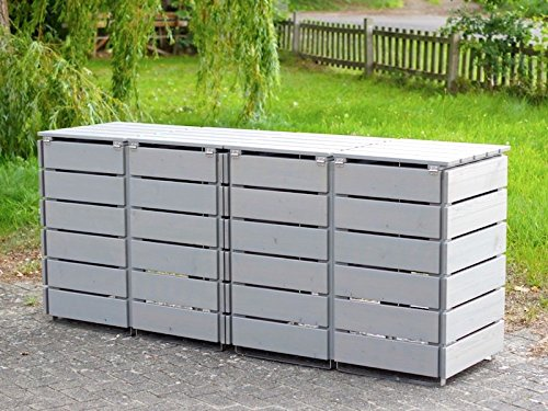 4er Mülltonnenbox / Mülltonnenverkleidung 120 L Holz, Transparent Geölt Grau - 4