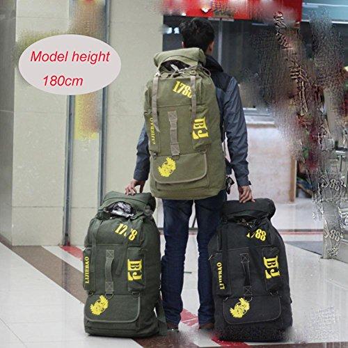 Rucksack 90L Große Kapazität Gepäck Tasche Leinwand Freizeit bewegen Klettern Camping Wandern Soft Outdoor Rucksack ArmyGreen