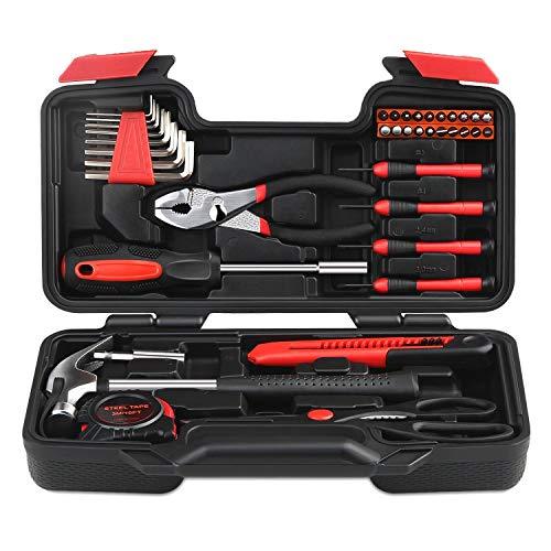 INTEY Werkzeugkoffer Werkzeugsätze Profil Haushaltswerkzeugsätze Tool Kit mit Kombizange für den Heimwerker-Einsatz und die Tägliche Reparatur (39)