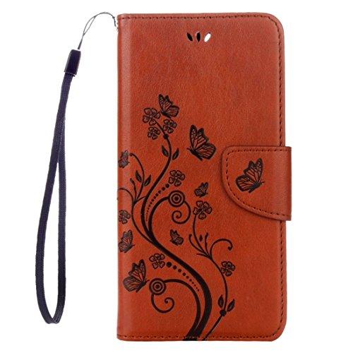 Hülle für iPhone 7 plus , Schutzhülle Für iPhone 7 Plus Blumen Prägung Horizontale Flip Leder Tasche mit Halter & Card Slots & Wallet & Lanyard ,hülle für iPhone 7 plus , case for iphone 7 plus ( Colo Coffee