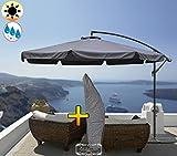 PREMIUM XXXL Ampelschirm 3,50 m / 350 cm, 8-teilig, 8 Streben, robustes ca. 200 g/m² Polyester grau / hellgrau-anthrazit, Sonnenschirm UV50+ KOMPLETT mit Standkreuz, Standfuß + ca. 50 mm Mast, hell grau groß, guter Sonnenschutz / Regenschutz, PREMIUM XXXL-Schirm, groß, robust stabil, grau blanc-bleu mehrfach verstellbar, Sonnenschirm, Strandschirm, Gartenschirm extrem wetterfest, faltbar, tragbar, seewasserfest