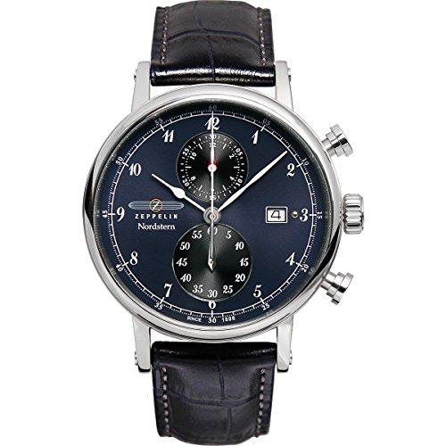 Zeppelin Watches 7578-3 - Reloj analógico de cuarzo para hombre con correa de piel, color negro