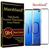 Marshland Tempered Glass 3D Curve Edge Anti Scratch Oleo Phobic Coating Anti-Bubble Tempered Glass Screen Protector Compatible with Samsung Galaxy S10 (Black)
