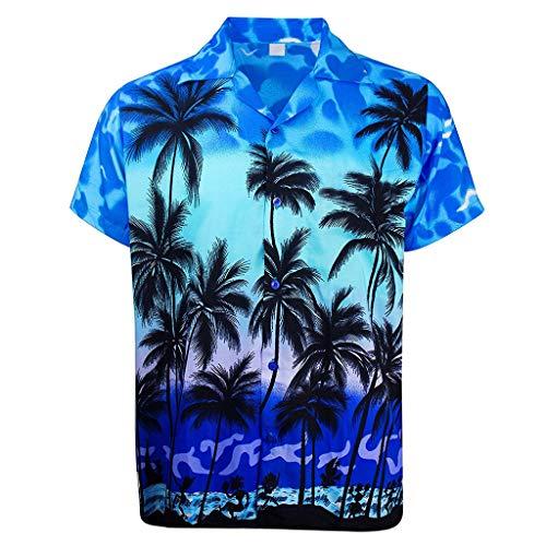 isch Drucken Kurzarm Hemd Sport Strand Schnelltrocknend Kühl und atmungsaktiv Hemd Tops(Medium,Blau-G) ()