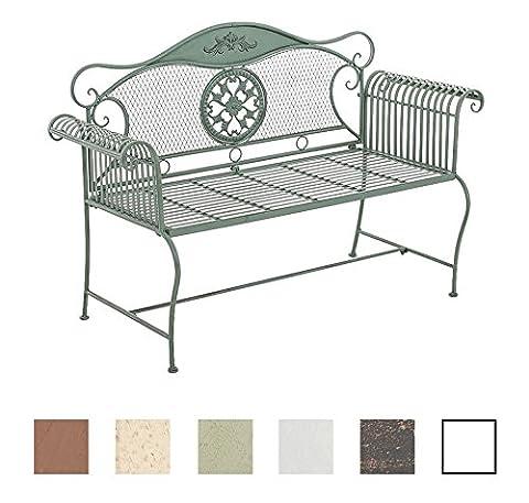 CLP Gartenbank RIKE im Landhausstil, aus lackiertem Eisen, 136 x 59 cm - aus bis zu 6 Farben wählen Antik