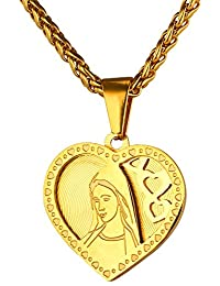 b1ee77e1025 U7 Collier Homme Vierge Marie Acier Inox Plaqué Or 18K Chaîne Pendentif  Coeur Bijoux Catholique