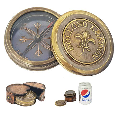 Maritime Compasses Maritime Independent Beautiful Nautical Brass Sundial Compass West London With Teak Wooden Box