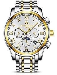 RORIOS Luxury Hombres Automático Mecánico Relojes de Pulsera Roman Number  Business Acero Inoxidable Band Day Calendario… c37a4597962b
