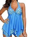 Damen Gedruckt Badeanzug 2 Pieces Tankini Badekleider Figurformender Große Größen Bademode Hellblau M