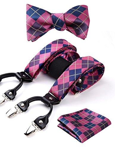 Hisdern Pr¨¹fen Streifen 6 Clips Straps & Bowtie und Einstecktuch Set Y-Form Verstellbare Zahnspange Rosa/Blau Rosa Bowties