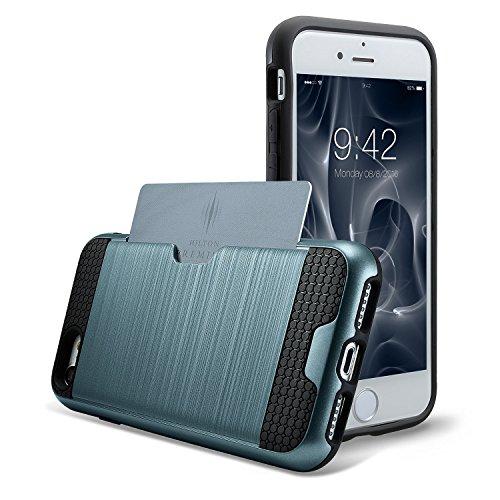 iPhone 7 Hülle, technext020 Schwere Rüstung, harte Stoßfänger, schlanke Kreditkarte Abdeckung Grau Navy