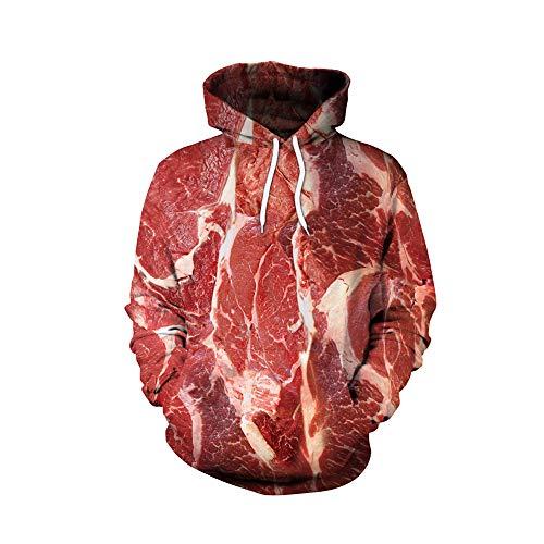 Baojintao 3D Mode Hoodies, Halloween Schweinefleisch Rindfleisch Bauch Pullover lustige Horror Street Sweatshirt, Street Dancer Pullover für Festivals,Pork