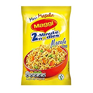 Maggi 2 Minute Noodles Masala Flavour - Made in India - Quick Cook Ready in 2 Minutes - 70g Bag - Pack of 16