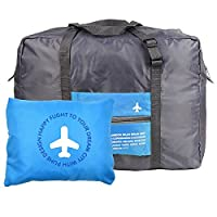 MABELER Waterproof Foldaway Storage/Duffel Bag For Travel,Camping,Large Capacity Lightweight Trolley/Tote Bag, Attach on the Handle of Suitcase (Blue)