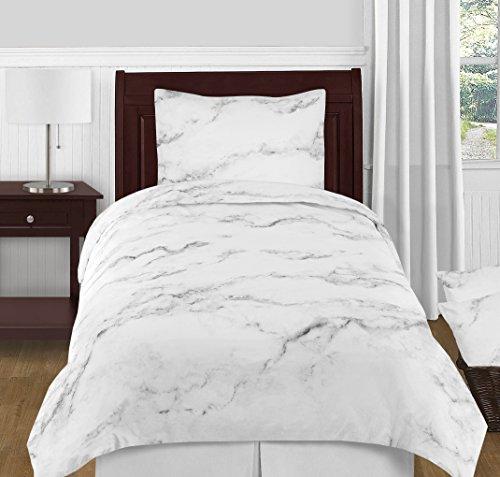 Moderne Grau, Schwarz und Weiß Marmor 4Stück Twin/Twin Größe XL Teens College Betten-Set-Collection -