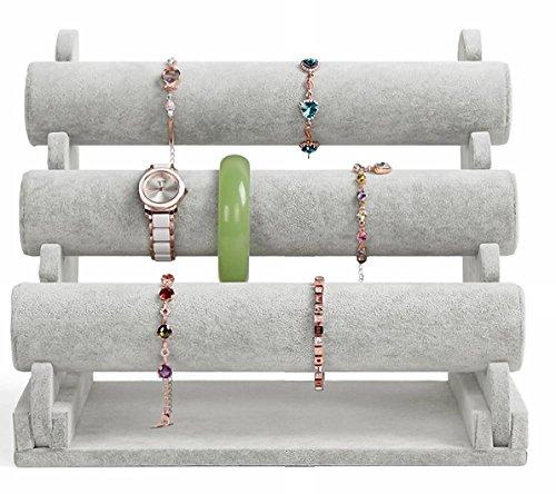 Sinoba Armbandständer Schmuckständer Uhrenständer Schmuckhalter 3 Etagen grau Samt-Look