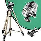 Mantona Green Screen Set für GoPro Kamera inkl. Kamerastativ, Stativadapter und Hintergrund Grün