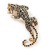 Avalaya 'con Diversos Patrones Leopardo' Broche con Forma de Chapado en Oro