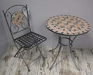 Garnitur Sitzgruppe 1 Tisch (Rund) + 2 Stühle (Klappstühle) *Florenz* Mosaik