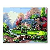 XSHSZYH Dipingere con i Numeri Dipinto a Mano Bellissimo Giardino Cabina paesaggi Dipinti ad Olio Quadri Fai-da-Te Dipinti da Kit per colorare Disegni su Tela Decorazioni per la casa Wall Art con co
