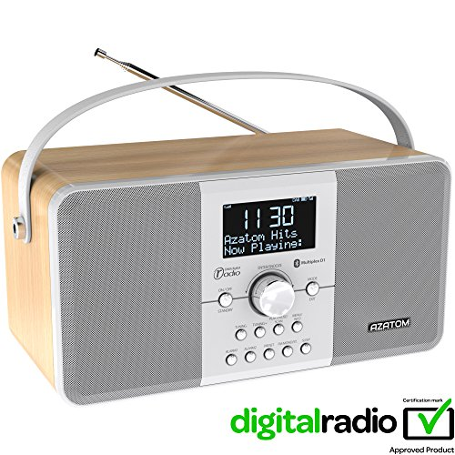 AZATOM Multiplex DAB Digital FM Radio Bluetooth Batterie Wecker - Bluetooth - Stereo Lautsprechersystem - Dual Alarm - Radiowecker - Wiederaufladbare Batterie - USB Lade - Premium Stereo Sound (Eiche hell)