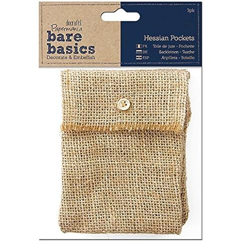 Papermania Bare Basics - Bolsillos de arpillera (3 unidades), color marrón