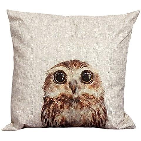 FEITONG Funda de almohada de algodón de lino de la vendimia Sofá de la cintura Throw Cojín Decoración