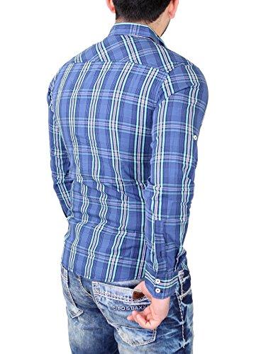 Reslad Herren Hemd Authentic Style Fein Karo Langarmhemd RS-7696 Blau
