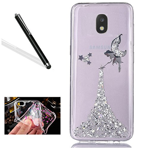 Coque Galaxy J5 2017,Bling TPU Coque pour Samsung J5 2017,Leeook Luxe Paillette Bling Briller Glitter Argent Bleu Angel Fille TPU Gel Coque Ultra Mince Paillette Case Cover Telephone Portable Soft Housse Cas Prime Flex Silicone Skin Protection Shell Coquille Couvrir Coverture Pare-Chocs Anti-Choc Bumper pour Samsung Galaxy J5 2017 + 1 x Noir Stylet-Silver