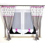 GalaDis GMT-P-1 Disney Kindergardine für Babys/Kinder mit TEDDYs für Kinderzimmer/Vorhänge mit Sternchen (Pink)