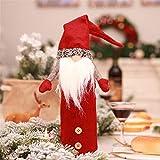 Cvbndfe Gute Qualität 2 Stücke Weihnachten Weinflasche Abdeckung Pullover Hut Weihnachten Table Dinner Dekoration Home Party Dekore (Farbe : Rot)